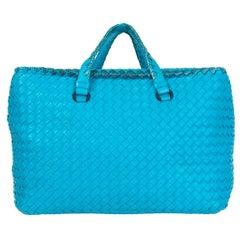 BOTTEGA VENETA turquoise leather & Karung Intrecciato Tote Bag
