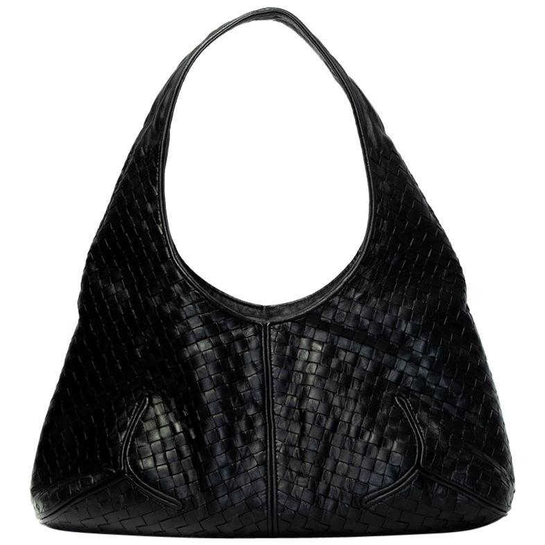 Bottega Veneta Vintage Black Intrecciato Leather Hobo Bag
