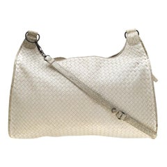 Bottega Veneta White Intrecciato Leather and Croc Trim Hobo