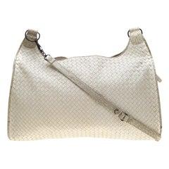 Bottega Veneta White Intrecciato Leather and Croc Trim Hobo