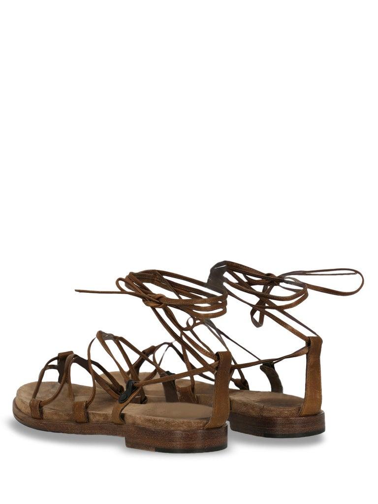 Bottega Veneta Woman Sandals Brown Leather IT 37 In Fair Condition In Milan, IT
