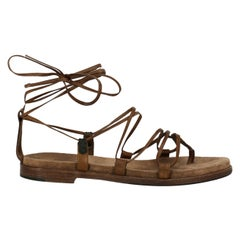 Bottega Veneta Woman Sandals Brown Leather IT 37