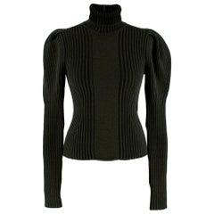 Bottega Veneta Wool Khaki Roll Neck Puff Sleeve Top 36IT