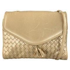 BOTTEGA VENETA Woven Champagne Metallic Intrecciato Leather Shoulder bag