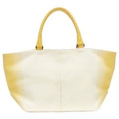 BOTTEGA VENETA yelloe gradient print canvas intreccia leather handle tote bag
