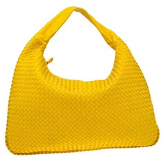 Bottega Veneta Yellow Intrecciato Leather Maxi Veneta Hobo Bag