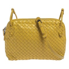 Bottega Veneta Yellow Intrecciato Leather Nodini Crossbody Bag
