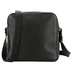 Bottega Veneta Zip Around Messenger Bag Leather with Intrecciato Detail S