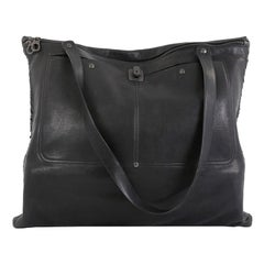 Bottega Veneta Zip Front Pocket Shopping Tote Leather with Intrecciato Detail La