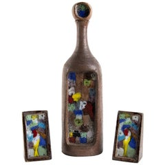 Bottle and Two Bookends, Londi for Bitossi, 1950s