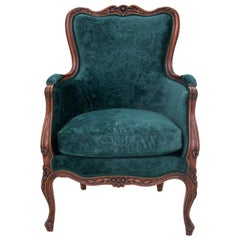 Bottle Green Armchair in Louis Phillipe Style, France, circa 1910, Restored