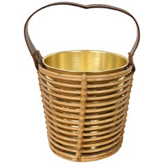 Bottle Ice Holder Basket in Golden Metal, Rattan Bamboo and Leather, Italy 1960s