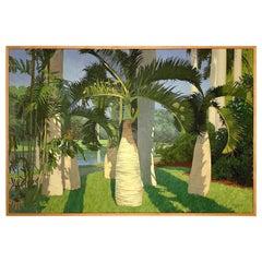 Bottle Palms, Oasis, Oil on Canvas, Richard 'Dick' Obenchain, 1979