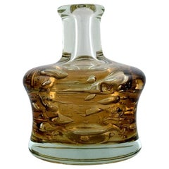 Bottle Shaped Murano Vase in Clear and Smoky Mouth-Blown Art Glass