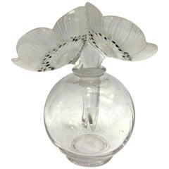 """Bottle """"Vase Deux Anémones"""" White Enameled Black Glass by René Lalique"""