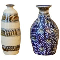 Bottle Vase / Sake Flask with Chattered Decoration, Okinawa, 'Mid-20th Century'