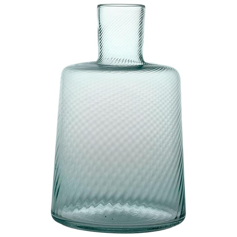 Bottle22, Bottle Glass Handcrafted Muranese Glass, Acquamarine Twisted MUN by VG