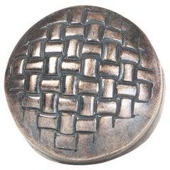 BOTTTEGA VENETA antique sterling silver INTRECCIATO SIGNET RING 9.5