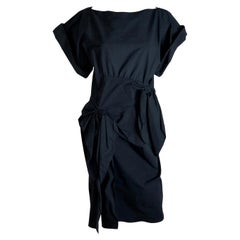 Botttega Veneta Black Boat Neck Stretch Cotton Bias Dress Embellished w/ Bows