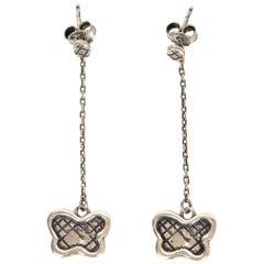 BOTTTEGA VENETA sterling silver BUTTERFLY Chain Pendant Earrings
