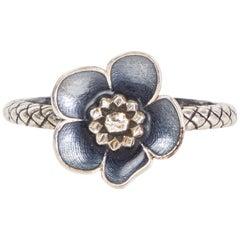 BOTTTEGA VENETA sterling silver ENAMEL FLOWER RING 7