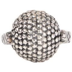 BOTTTEGA VENETA sterling silver INTRECCIATO SPINNING BALL RING 6.5