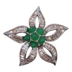 Boucher Bullet Green Flower Brooch 1950's