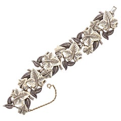 Boucher Silver Plated and White Glass Ivy Leaves Link Bracelet circa 1950s