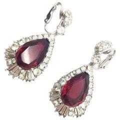 Boucher Vintage Earrings Faux Ruby Diamond 1950s