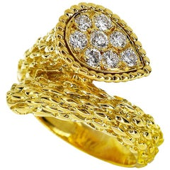 Boucheron 0.33 Carat Diamond 18 Karat Yellow Gold Serpent Boheme Ring Medium
