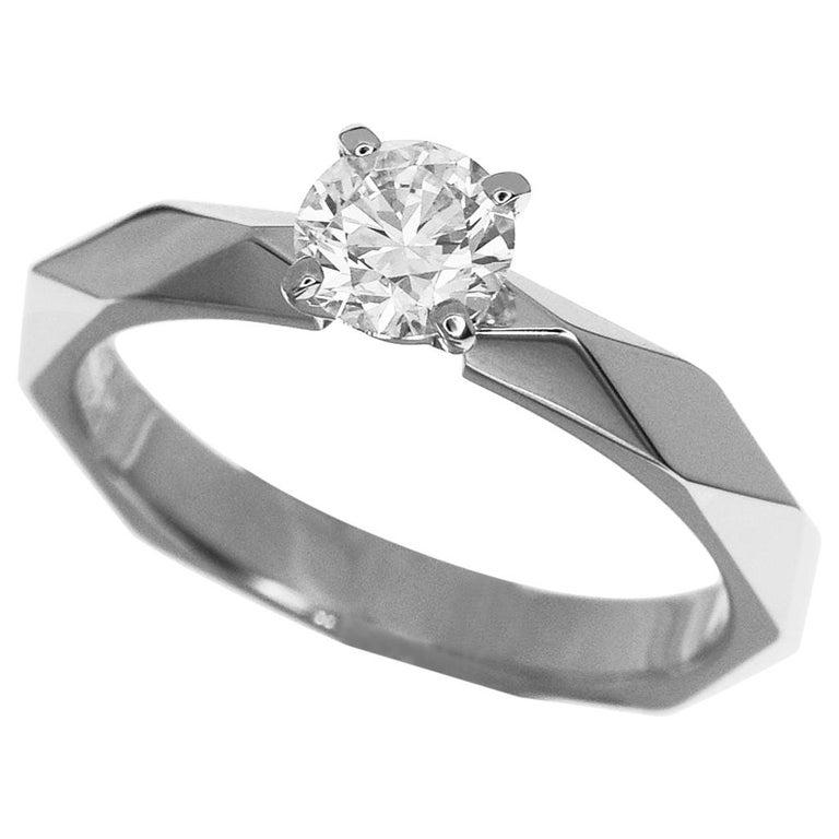 photos officielles 179cd 28675 Boucheron 0.47 Carat Diamond 18 Karat White Gold Facet Solitaire Ring