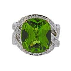 Boucheron 12.90 Carat Peridot Diamond Gold Ring