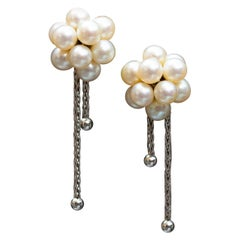 Boucheron 18 Carat Gold and Pearl Cluster Earrings