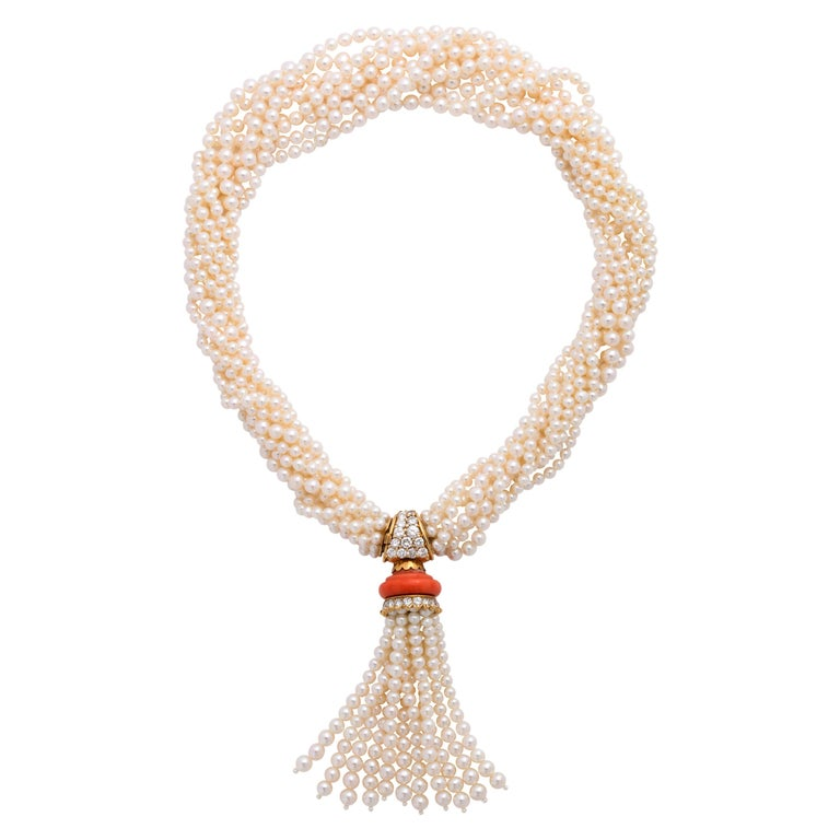Boucheron 18 Karat Gold Cultured Pearl Coral and Diamond Necklace