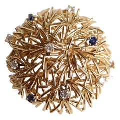 Boucheron 18 Karat Gold Stylized Thorn Ball Brooch with Sapphires and Diamonds