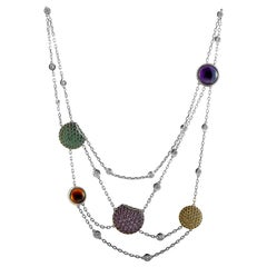 Boucheron 18 Karat White Gold 1.10 Carat Diamond and Multiple Gemstones Necklace