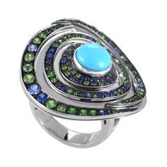 Boucheron 18 Karat White Gold Blue and Green Gemstone Vortex Cocktail Ring