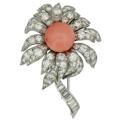 Boucheron 18 Karat White Gold Coral and Diamond Flower Brooch