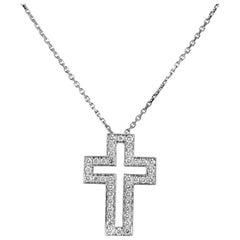 Boucheron 18 Karat White Gold Diamond Cross Pendant Necklace