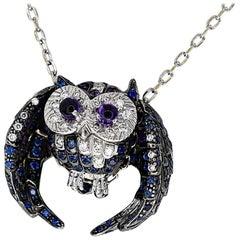 Boucheron 18 Karat White Gold Noctua the Owl Necklace