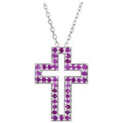 Boucheron 18 Karat White Gold Ruby Cross Pendant Necklace