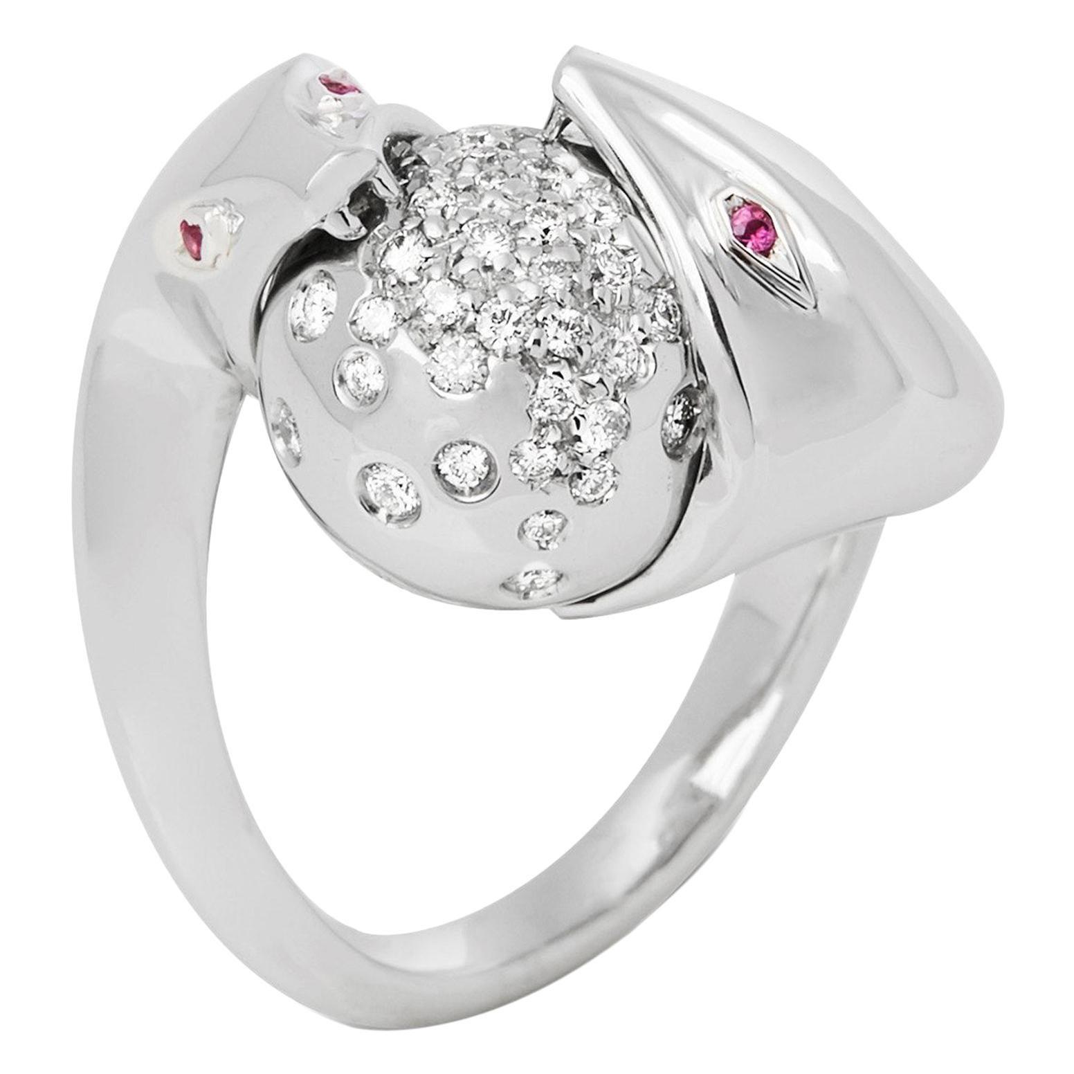 Boucheron 18 Karat White Gold Serpent Diamond Ring