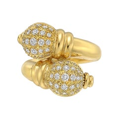 Boucheron 18 Karat Yellow Gold and Diamond Double Finial Ring