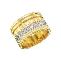 "Boucheron 18 Karat Yellow Gold and Diamond ""Quatre"" Band Ring"