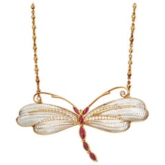 Boucheron 18 Karat Yellow Gold Diamond and Ruby Dragonfly Pendant Necklace