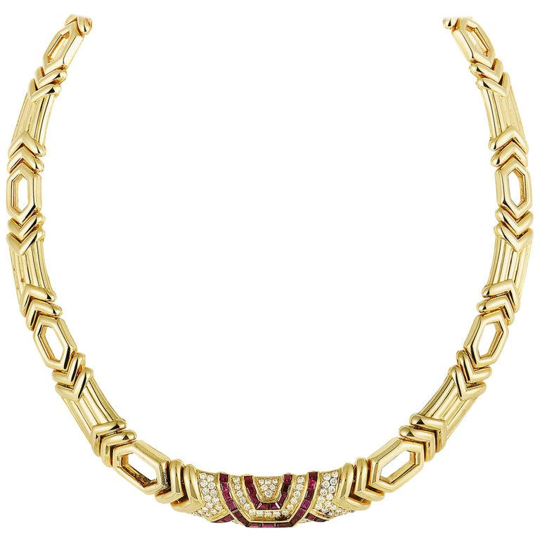 Boucheron 18 Karat Yellow Gold Diamond Pave and Ruby Collar Necklace For Sale