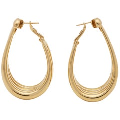 Boucheron 18 Karat Yellow Gold Large Dress Hoop Earrings