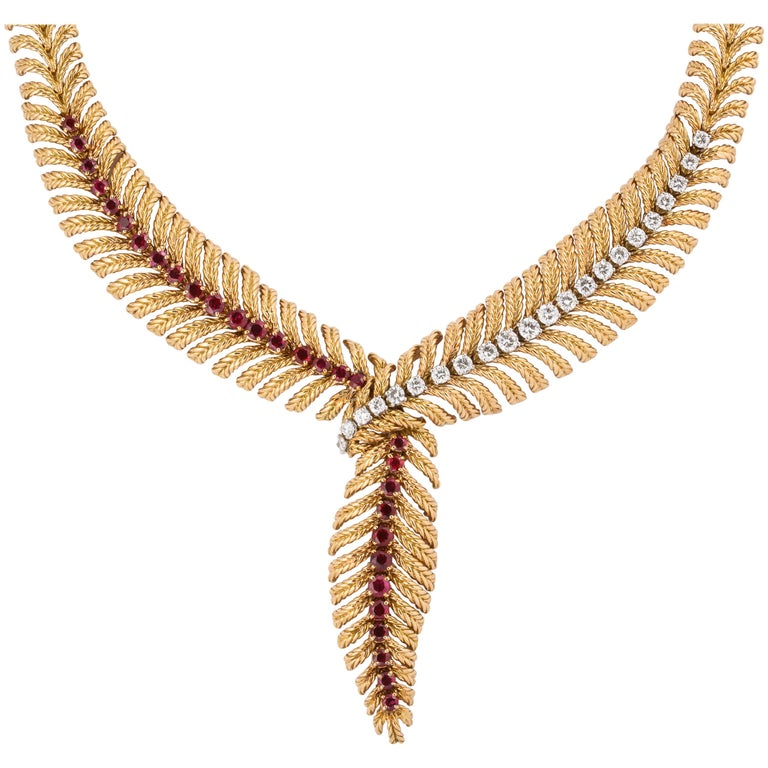 Boucheron 18 Karat Yellow Gold Ruby and Diamond Necklace For Sale