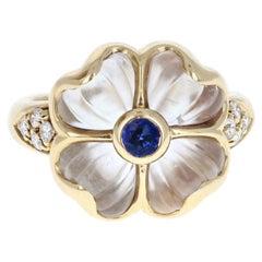 Boucheron 18 Karat Yellow Gold, Sapphire, Rock Crystal and Diamond Flower Ring