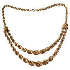 Boucheron 18 Karat Yellow Gold Vintage Serpent Boheme Rope Chain Necklace